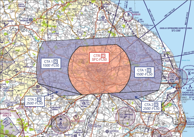 CAA approved controlled airspace for Norwich Airport